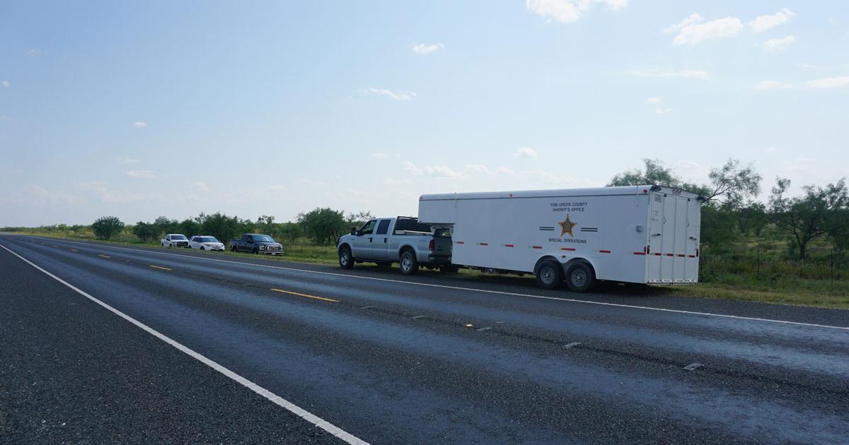 The crime scene investigation trailer next to the pasture where Eric Torrez was found. (LIVE! Photo/Cameron Niblock)