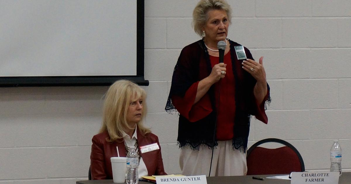 Mayoral candidate Charlotte Farmer (standing) at the San Angelo Tea Party forum on March 14, 2017. (LIVE! Photo/Joe Hyde)