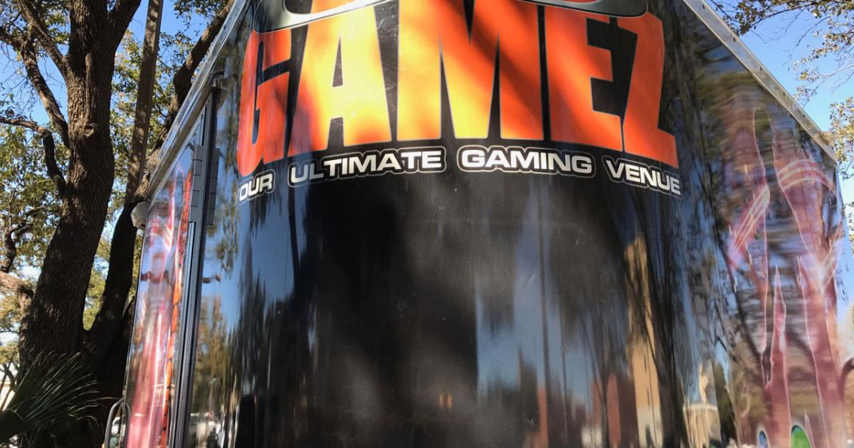 The streamlined bullet nose of the GoGamez trailer. (LIVE! Photo/Joe Hyde)
