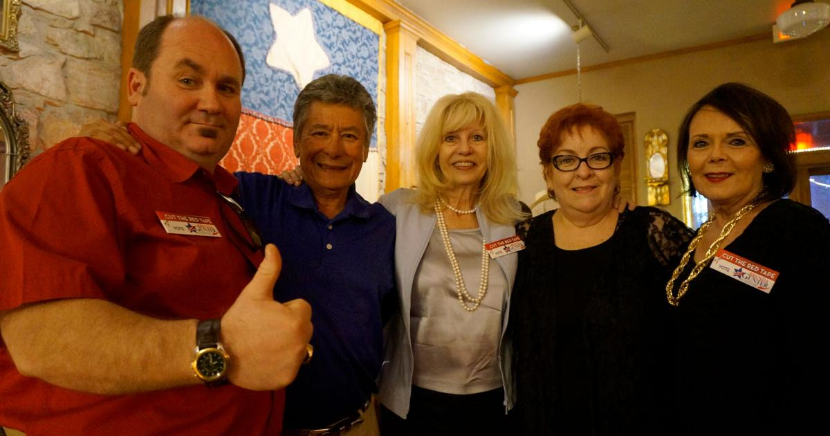 The winning campaign team. Brenda Gunter (center) is flanked by Stephen McLaughlin, her ad guy; Del Velaquez, her trusted advisor; Lucie Hofheins, and Kathleen Hicks. (LIVE! Photo/Joe Hyde)