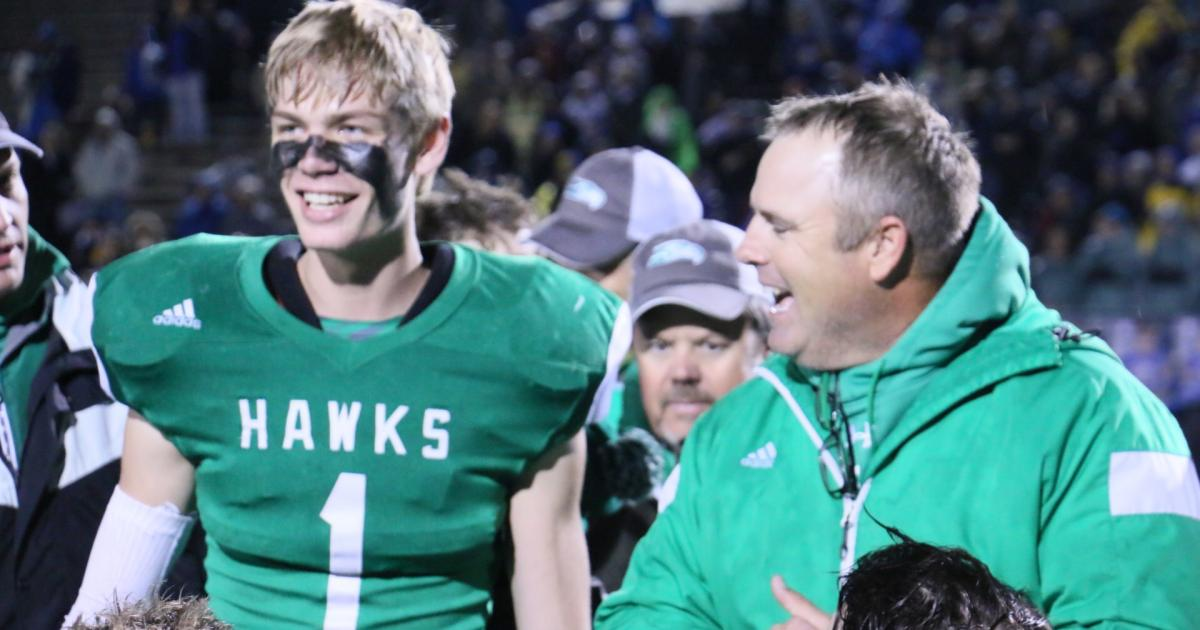 Wall head coach Houston Guy with Marty Weishuhn (#1). (Contributed/Rodney Fleming)