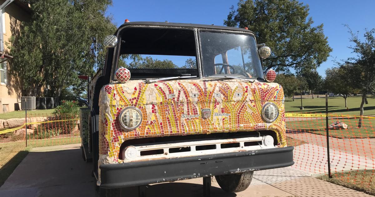 Vintage Fire Truck Art Installation by Art in Uncommon Places, photo San Angelo Live! Brandy Petty