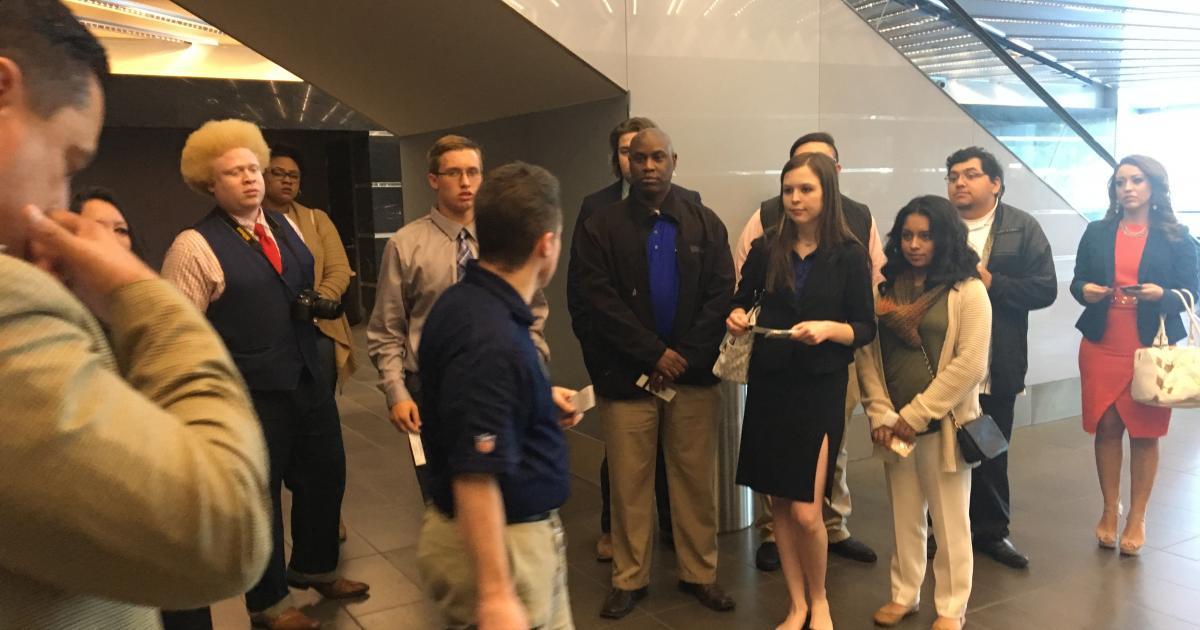 ASU students at the Cowboys' press box