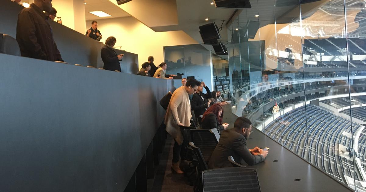 ASU students at the Cowboys' press box