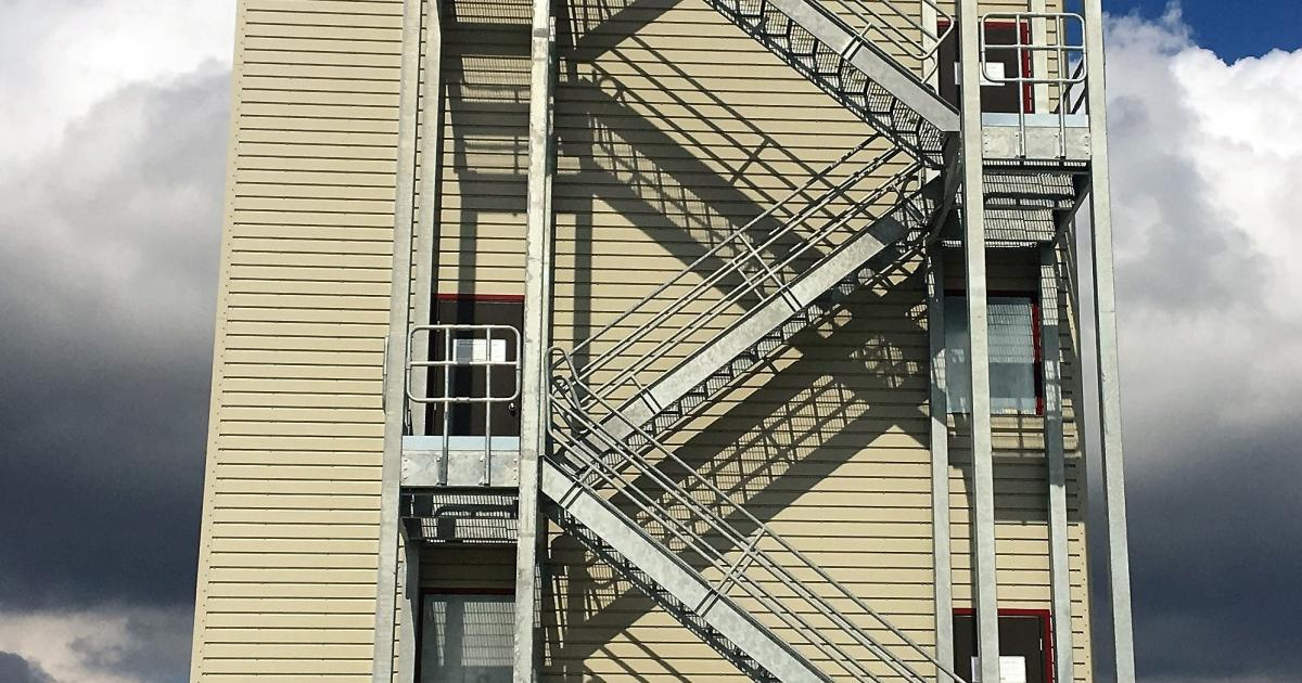Side fire escape of the new burn building