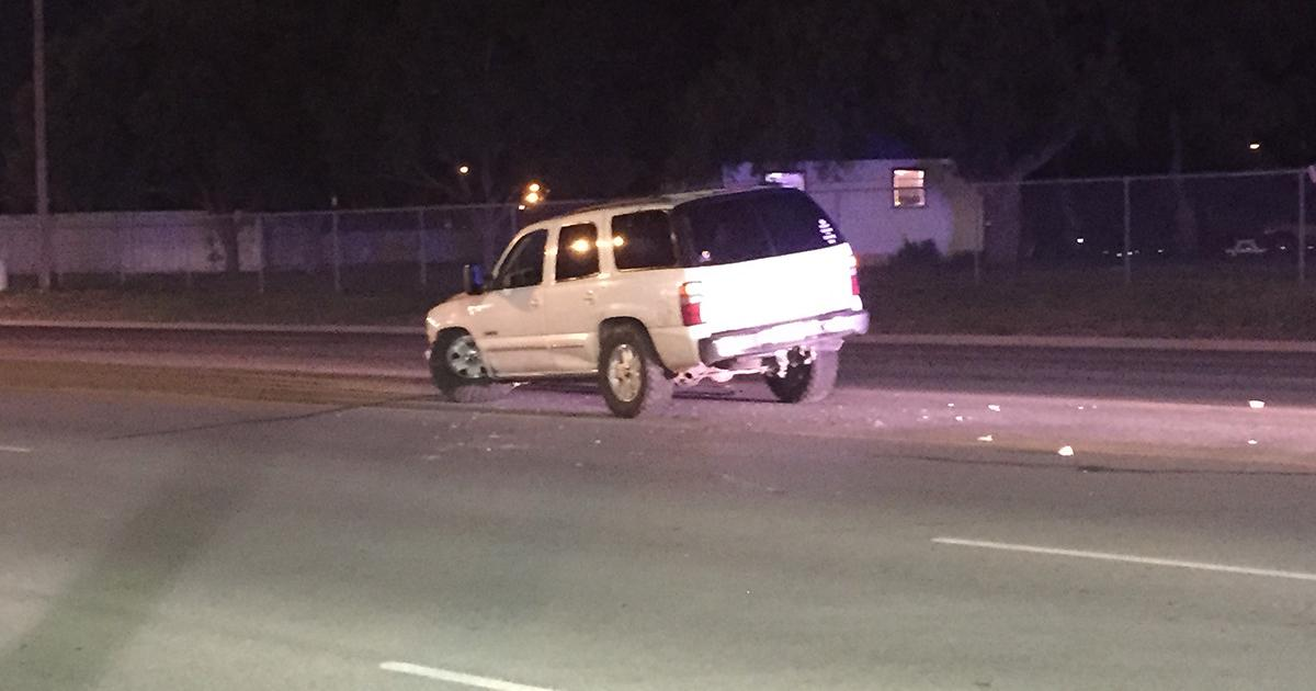 The disabled Chevrolet Tahoe after encountering a Toyota Camry in the middle of Knickerbocker Road on July 10, 2015. (LIVE! Photo/Megan Holmquest)