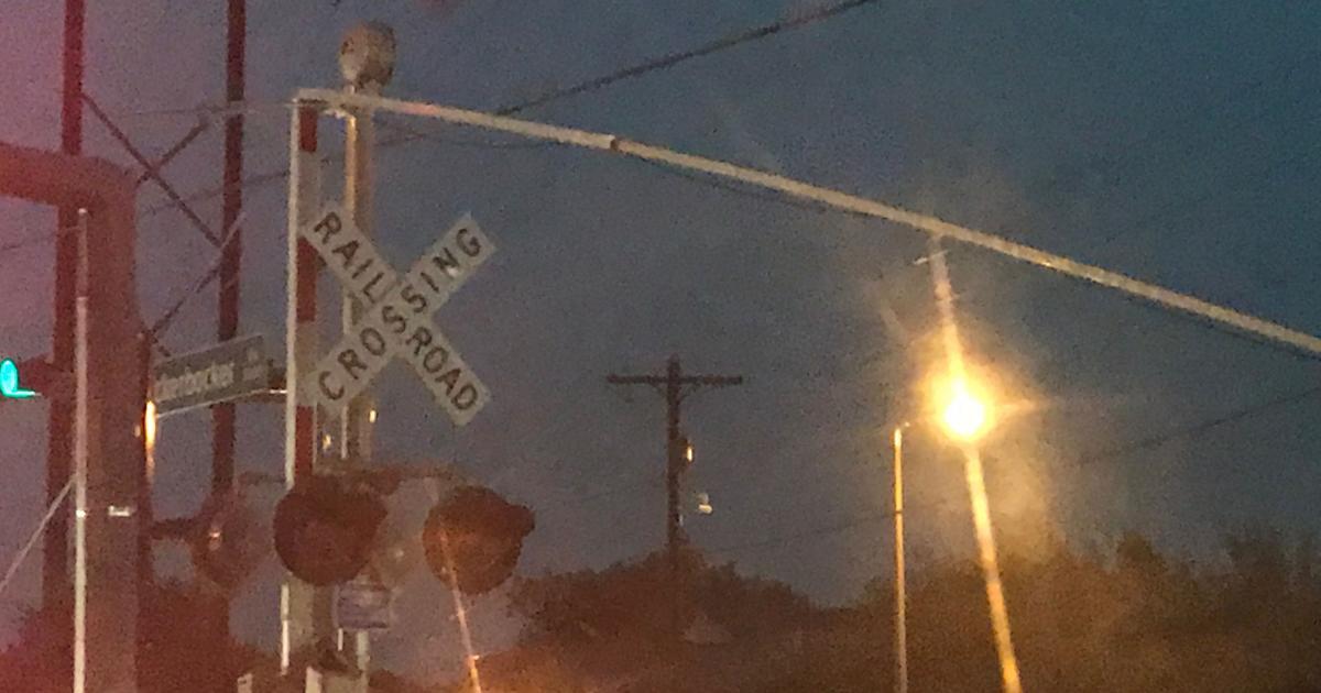 Railroad crossing arms on Knickerbocker Rd suffered wind damage. (LIVE! Photo/Joe Hyde)