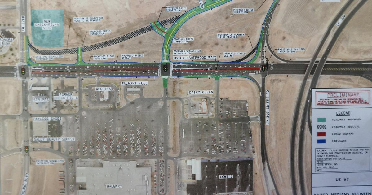 Click for a high-res pic of the map of the proposed traffic flow changes. (LIVE! Photo/Joe Hyde)