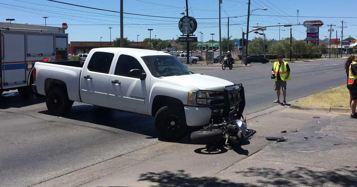 Pickup Driver Turns Left into Motorcyclist on Sherwood Way. (LIVE! Photo/Megan Holmquest)