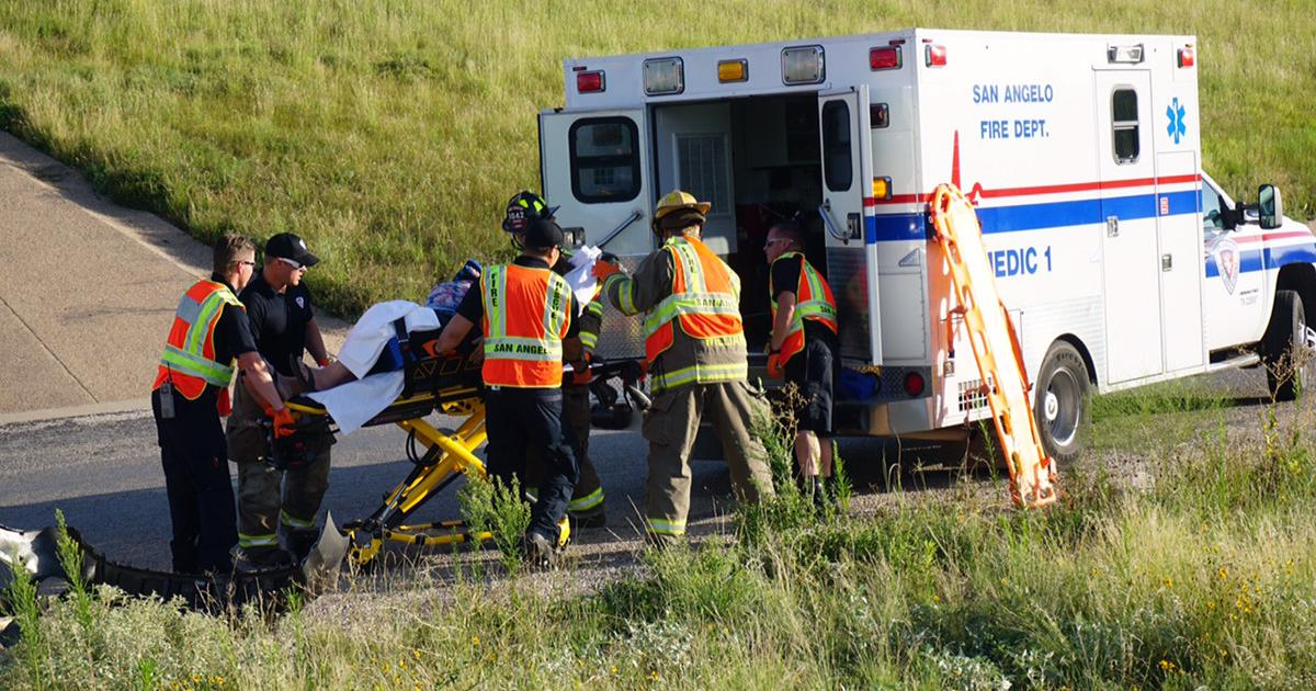 The driver of the Chevy cavalier is loaded into Medic 1 on a stretcher. (LIVE! Photo/John Basquez)