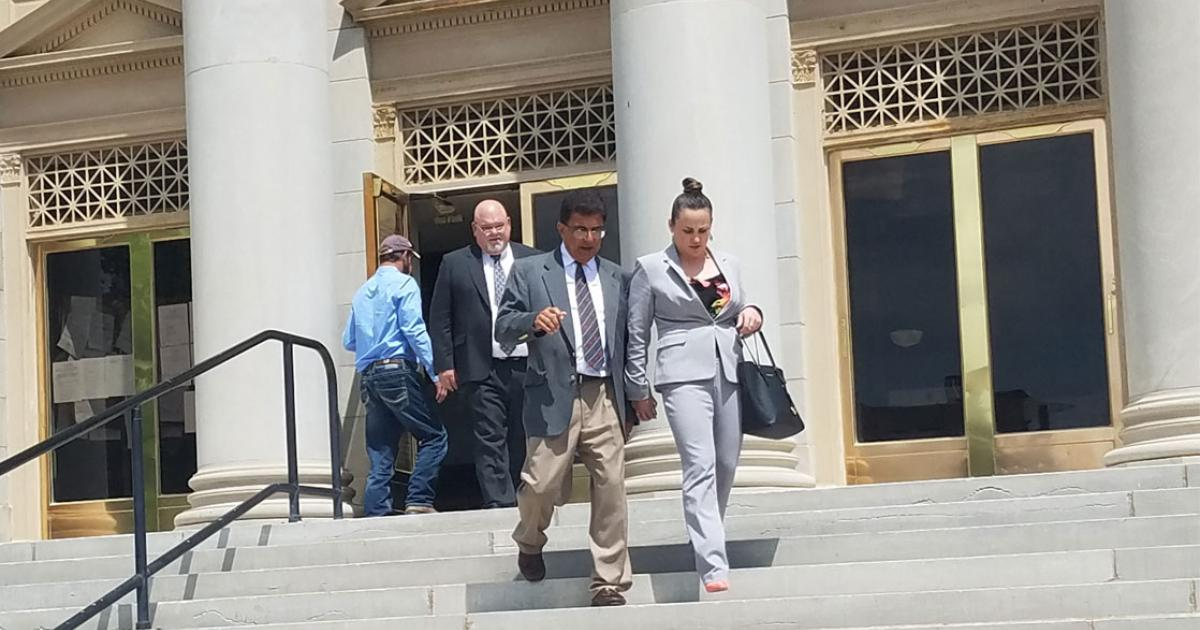 Ray Zapata departs the Tom Green County Courthouse with his defense attorneys. Attorney Mark Snodgrass is behind Zapata. (LIVE! Photo/Sonia Ramirez)