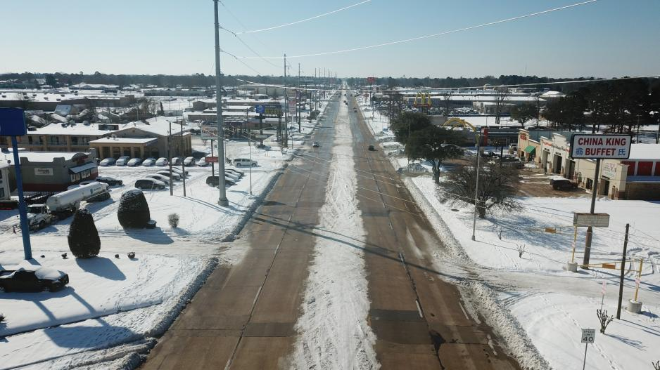 This photo taken the morning of Feb. 19 shows both sides were eventually cleared of snow and ice.