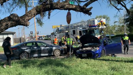 A three vehicle crash sent one driver to the hospital Monday afternoon, Oct. 5, 2020