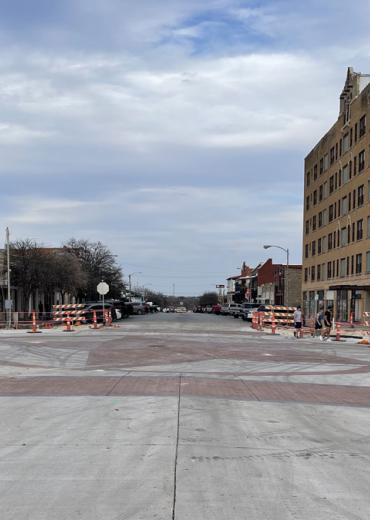 Downtown, looking east down Concho Ave across Chadbourne St.