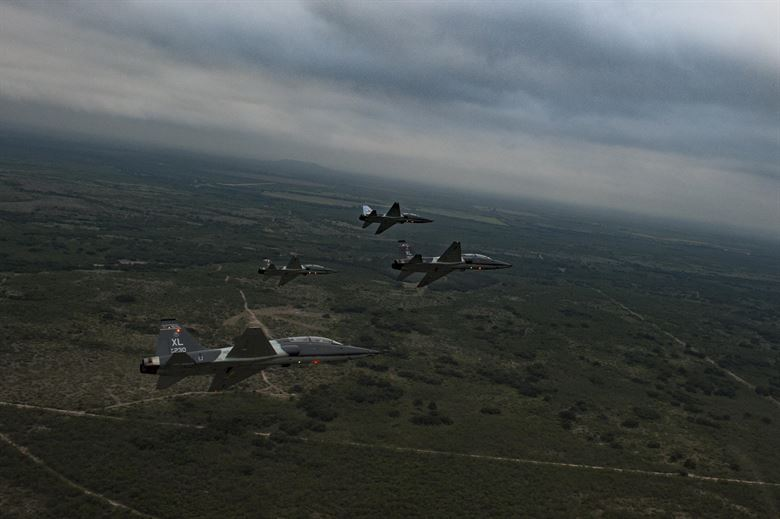 T-38Cs in a 4-ship flying northwest of Del Rio in 2017. (U.S. Air Force photo)