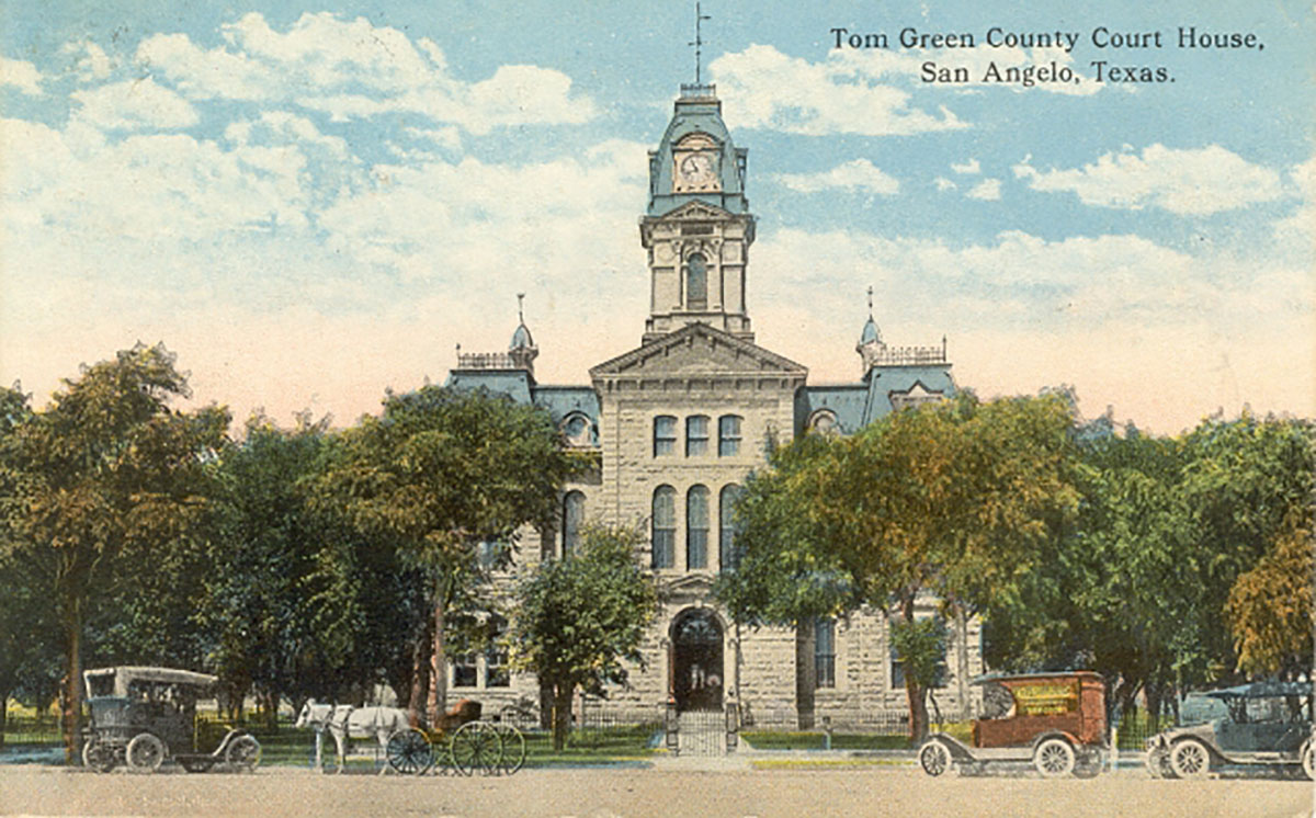 The original Tom Green County Courthouse, circa 1885. A design by Ruffini. (Postcard on eBay)