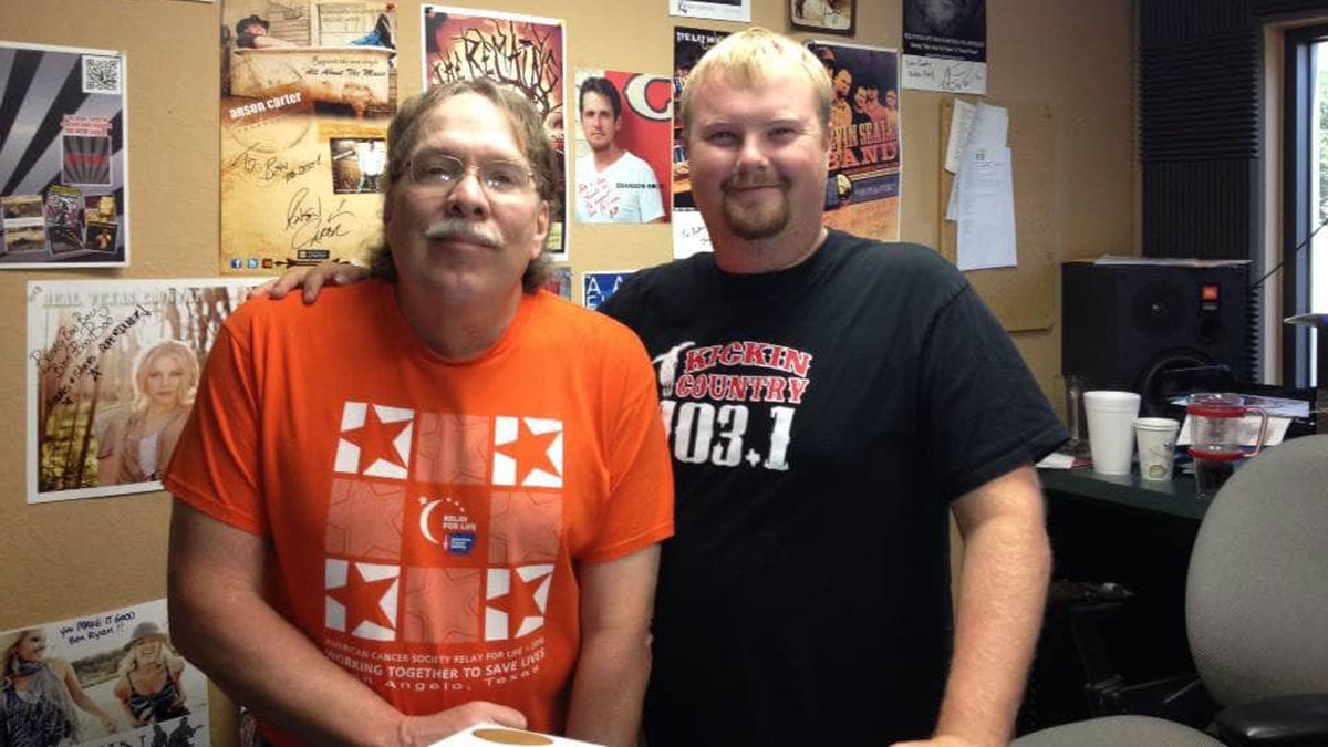 Boomer Kingston with Thomas Stubbs who hosted the Texas Country station KKCN under Boomer's direction. (Contributed/Thomas Stubbs)