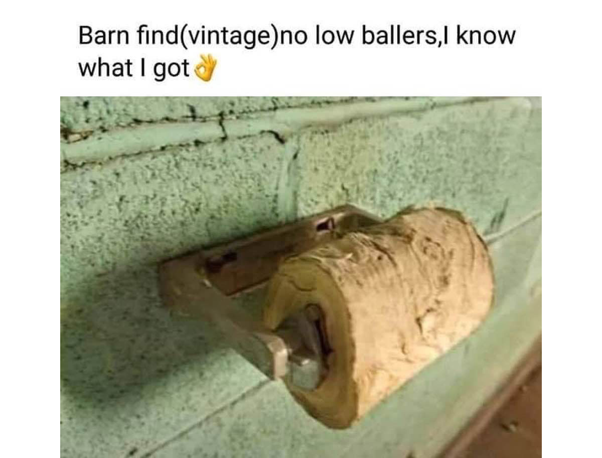 Toilet paper in a barn