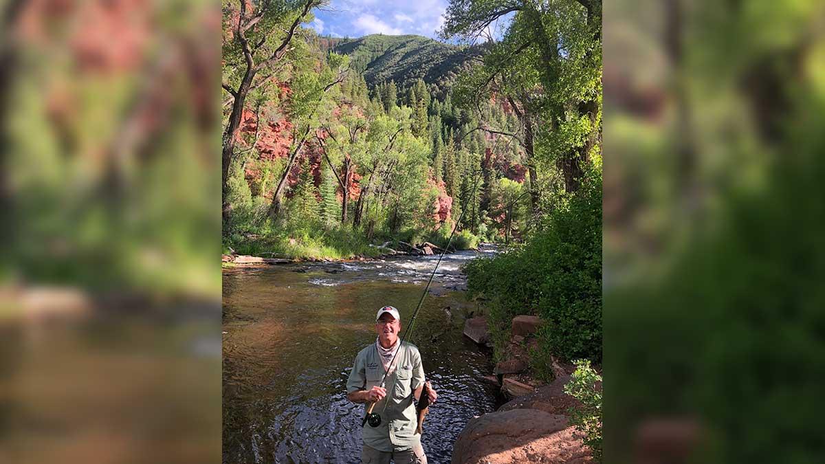 Fishing in the Frying Pan River in Colorado.