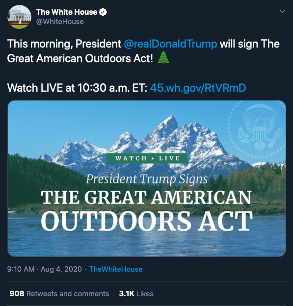President Trump To Sign Historic Great American Outdoors Act