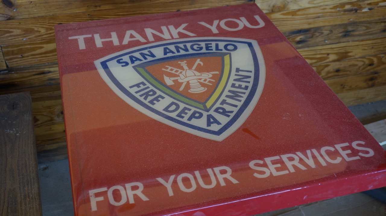 Another table is a tribute to the San Angelo Fire Department. (LIVE! Photo/Joe Hyde)