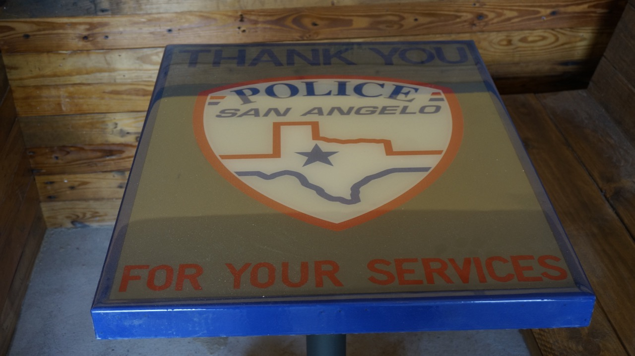 One table pays tribute to the San Angelo Police Department. (LIVE! Photo/Joe Hyde)