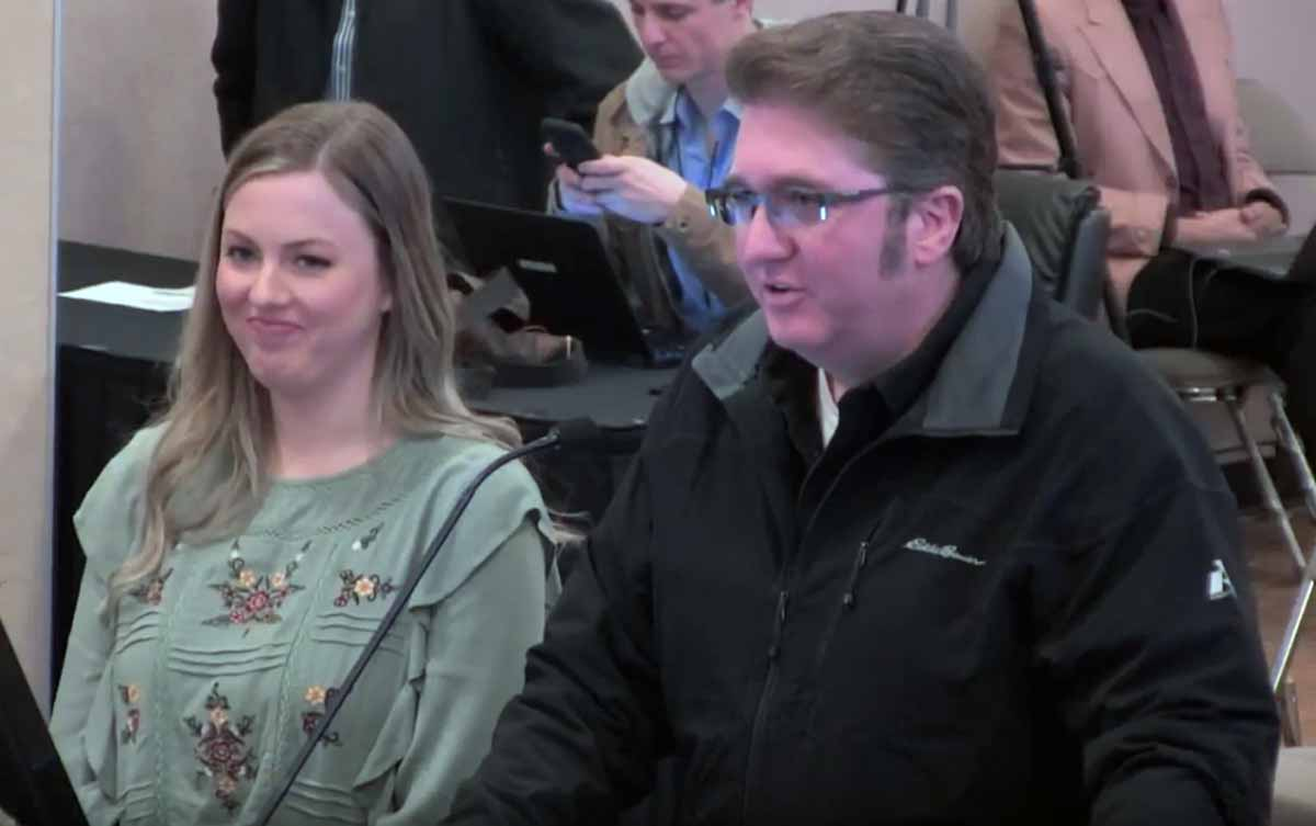 Chick-Fil-A franchise owner Rob Watkins with his daughter Amberly at the Feb. 19, 2019 meeting of the San Angelo City Council.