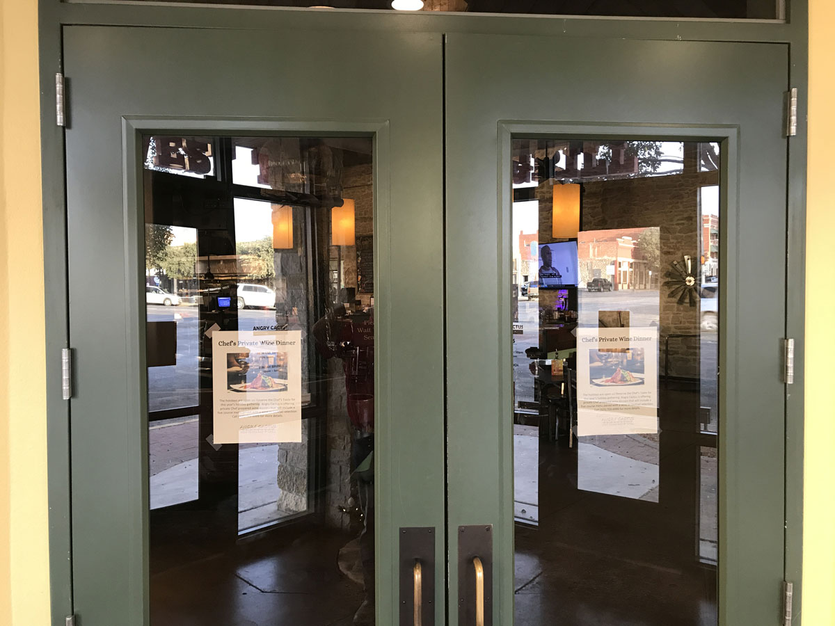 The new doors at the Angry Cactus where the Pancho Villa doors were. (LIVE! Photo/Joe Hyde)