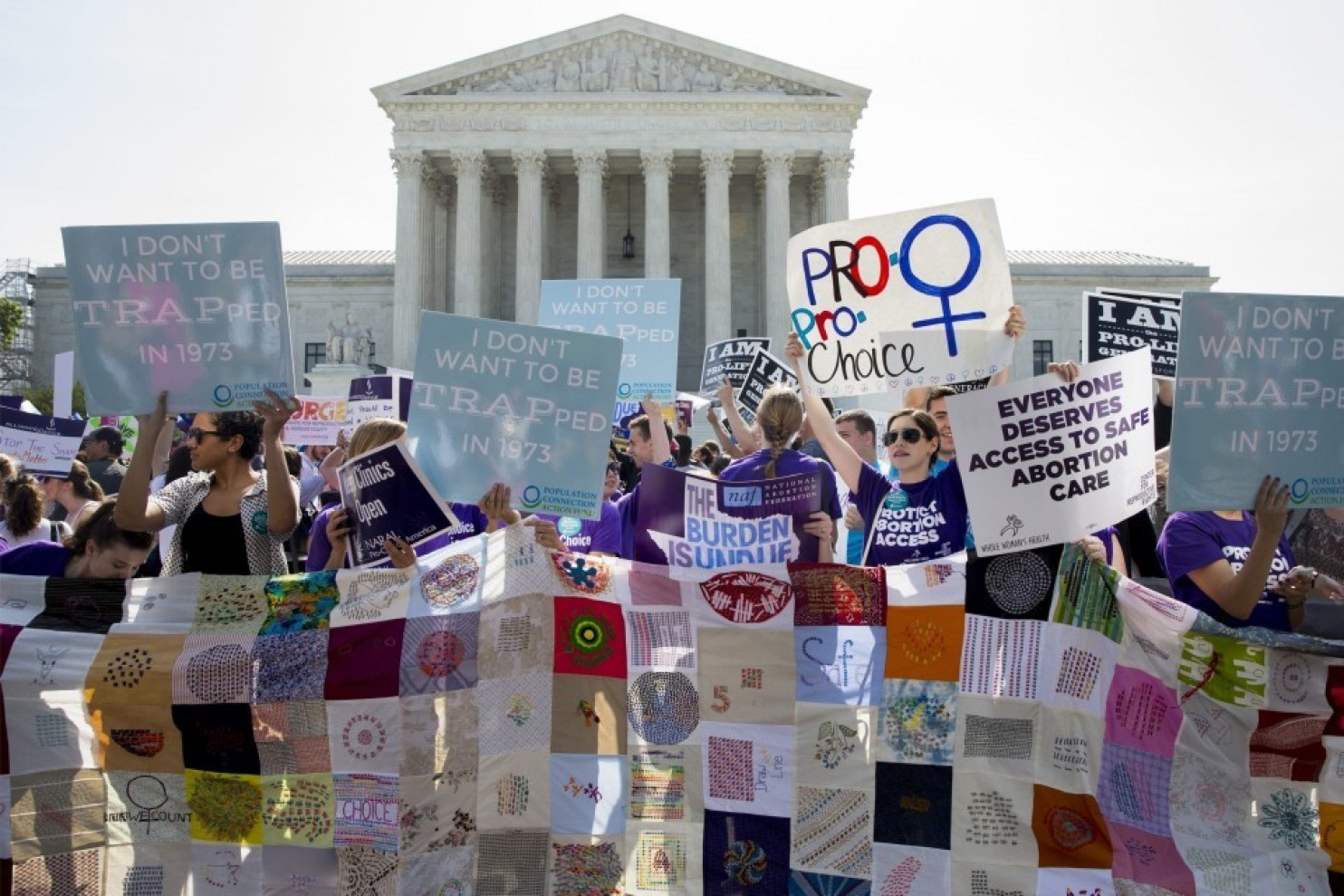 Pro-choice activist rally outside the Supreme Court in June 2016 before the court ruling on the Whole Womans Health v. Hellerstedt that imposed heavy restrictions on abortion clinics in Texas (Michael Reynolds/European Pressphoto Agency)