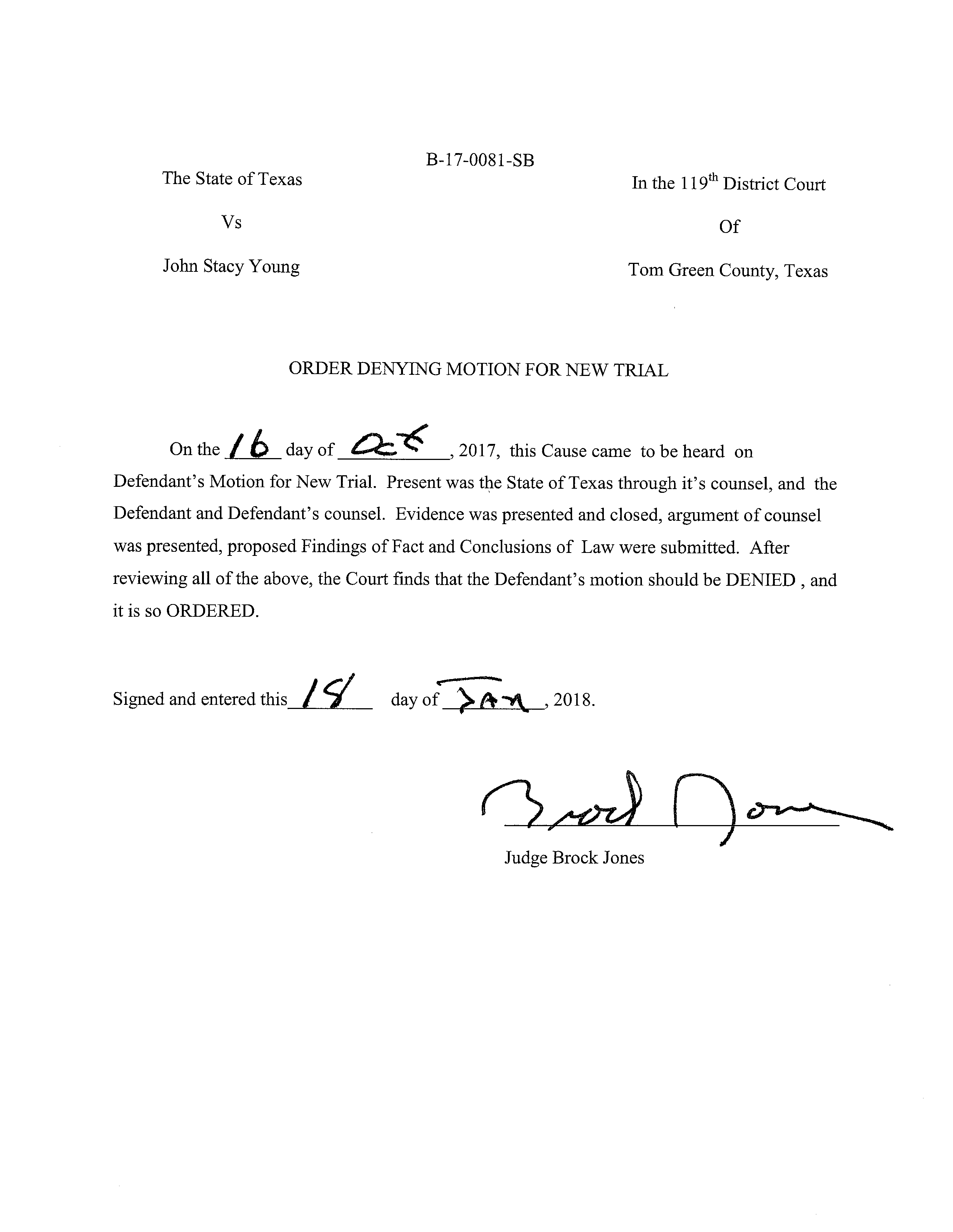Judge Jones Order Denying John Young a new trial