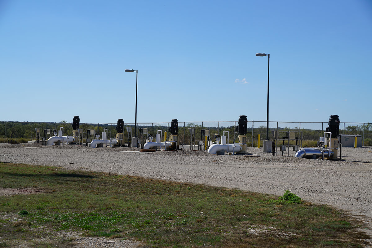 A battery of City of San Angelo well heads pumping water from the ground at the Ford Ranch to be transported 60 miles north through the pipeline. (Contributed/City of San Angelo)
