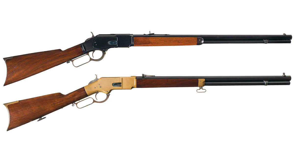 The 1873 Winchester (top). The1866 Winchester (bottom)