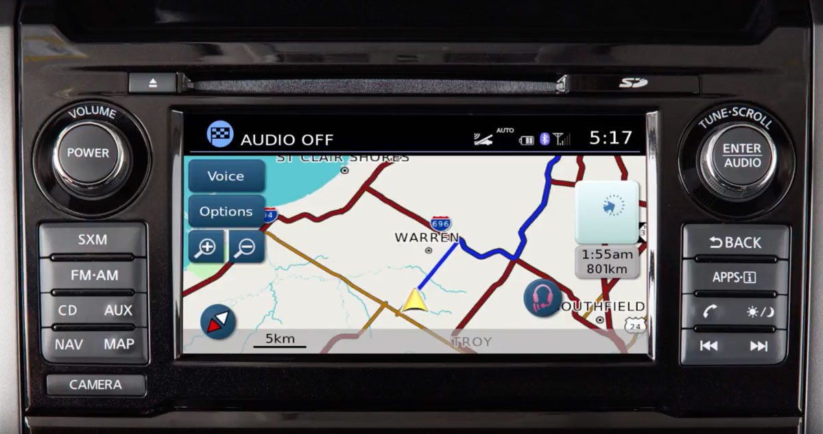 The 2018 Nissan Titan navigation screen (Screenshot, Nissan factory video)