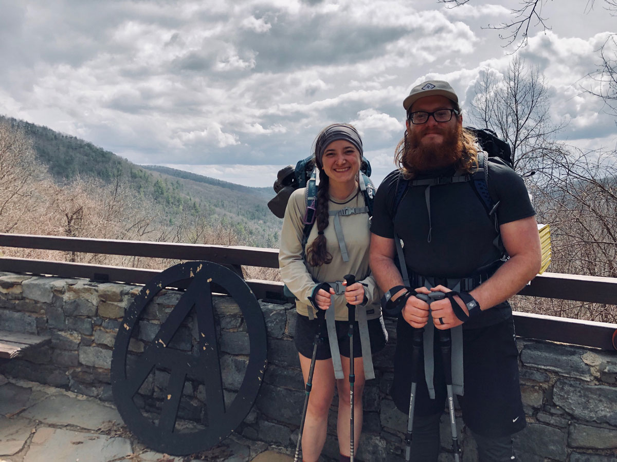 Leret and Emily are 44 miles up the Appalachian Trail in this photo.