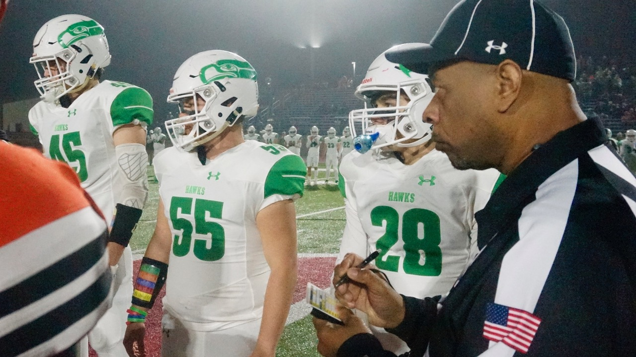 Nate Fedor and his fellow captains during the coin toss against Pilot Point (LIVE! Photo/Joe Z Hyde)