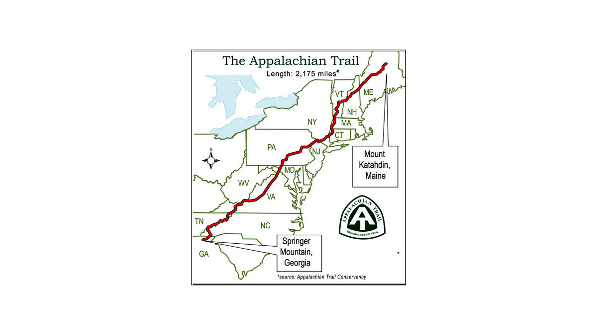The map of the Appalachian Trail.