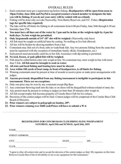 Concho Bass Tournament Sign Up Sheet