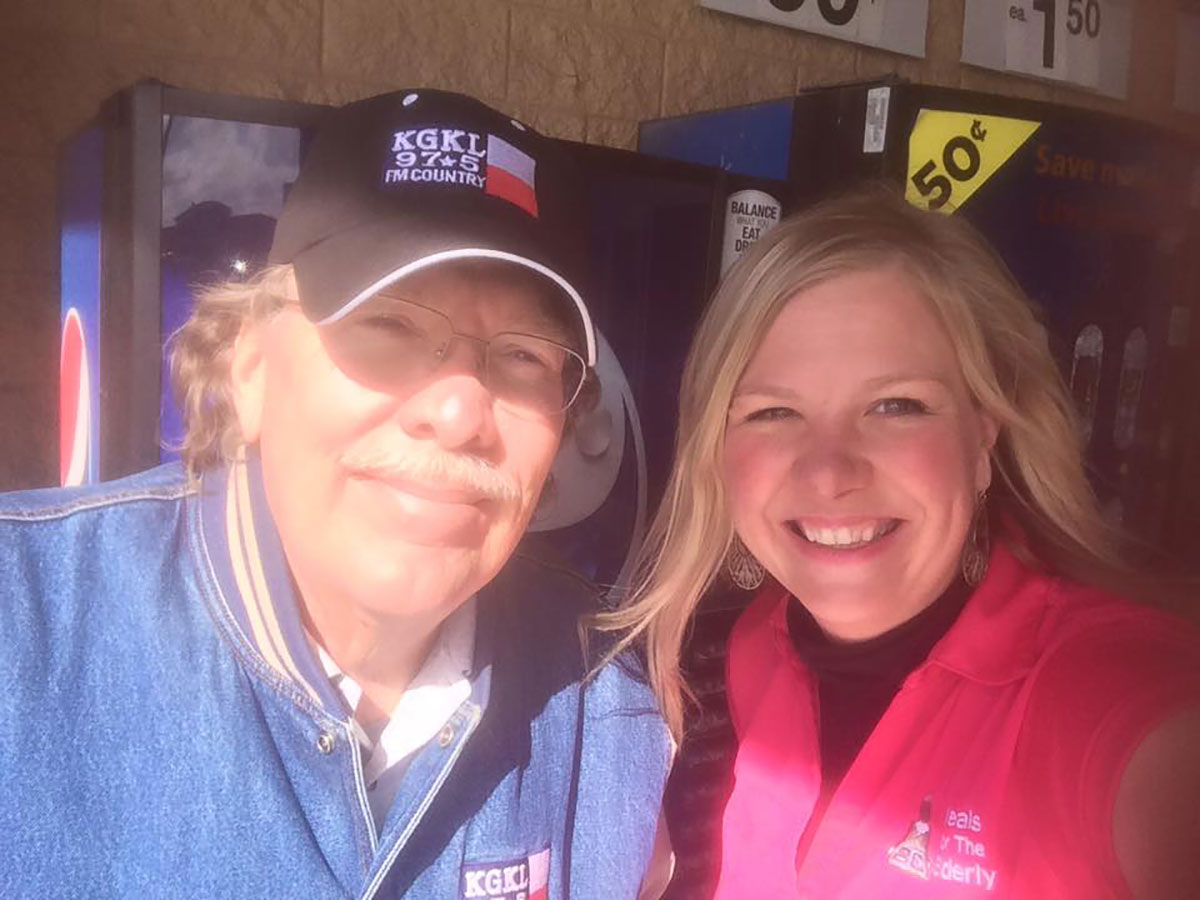 Becca Edens, who was the director of Meals for the Elderly at the time, with Boomer Kingston. (Contributed/San Angelo Meals for the Elderly)