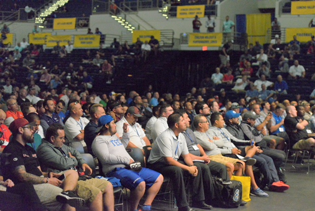 Coaches in Angelo State University's Junell Center listen to Nick Saban. June 13, 2018 (LIVE! Photo/Sam Fowler)