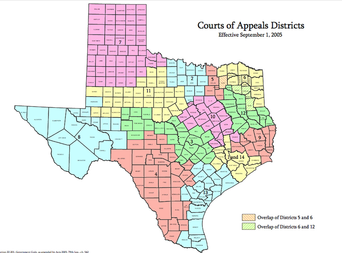 A map of the jurisdictions of the Texas courts of appeals. The Third Court of Appeals in in Central Texas, annotated by the color of green.