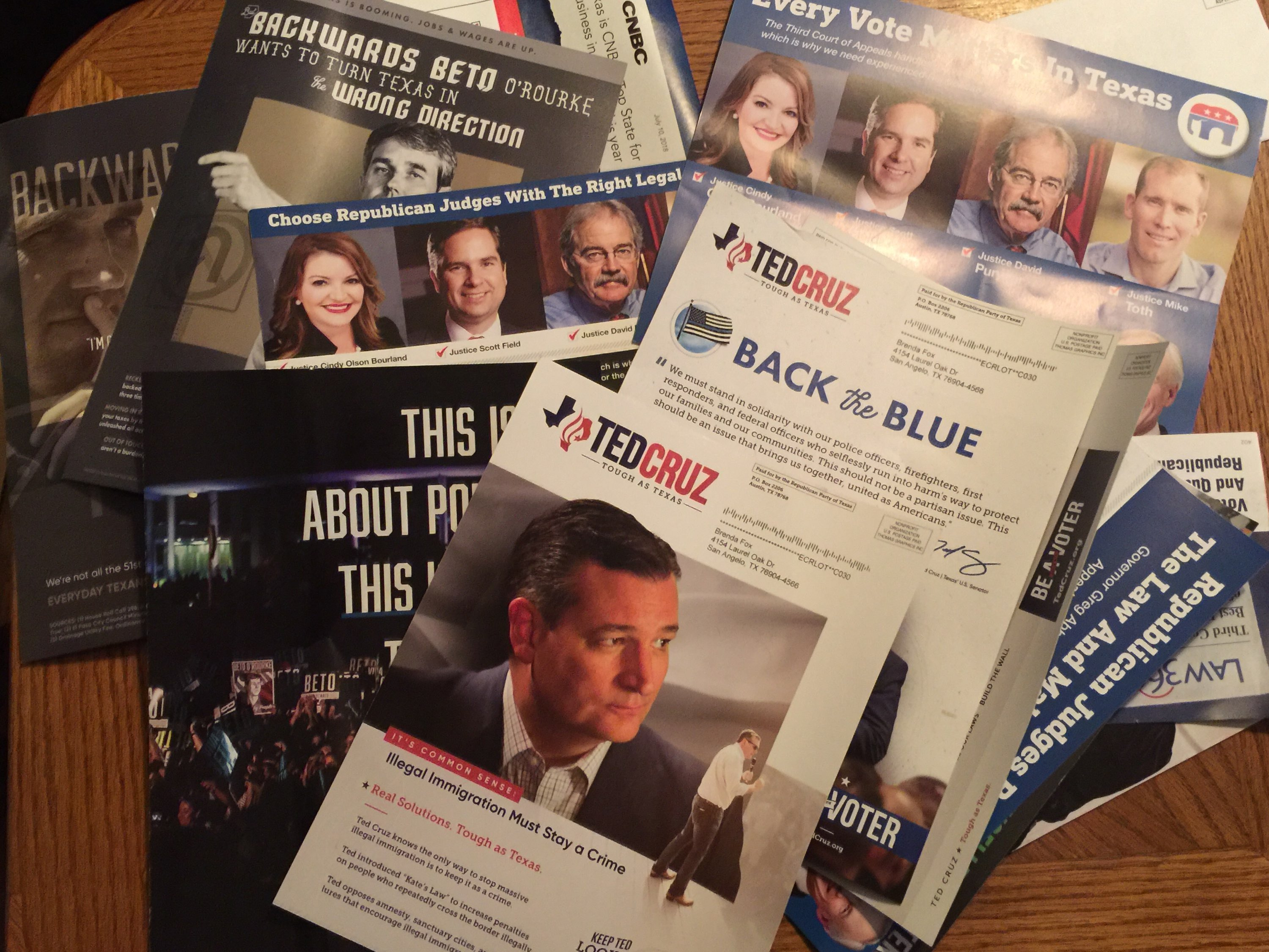 """Nov. 6, 2018 election direct mail pieces. If you were asking, """"Where'd all the money go?"""" (LIVE! Photo/Yantis Green)"""