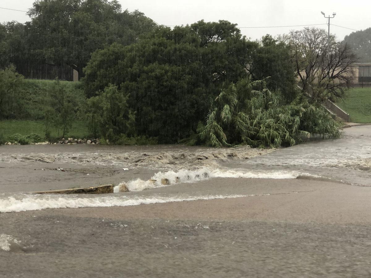 Flooding near Central High School on Sept. 7, 2018. (LIVE! Photo/John Basquez)