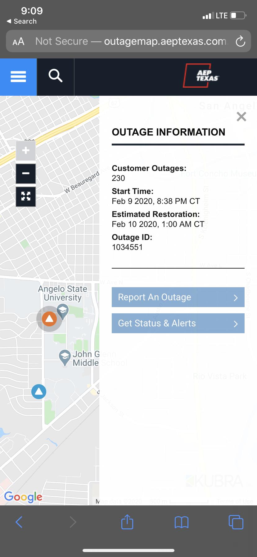 ASU Power Outage (AEP)