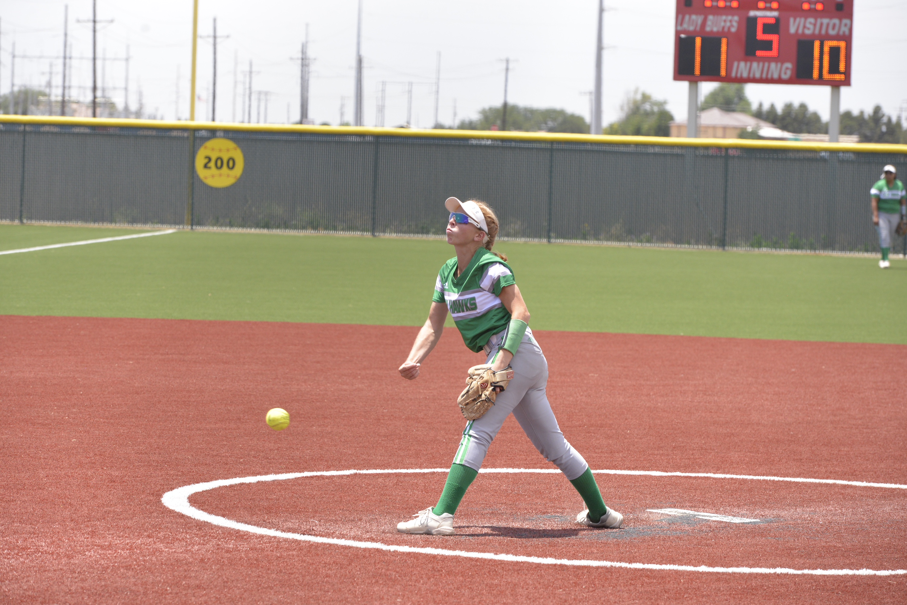 Wall's Kenzee Smith hurls a pitch against Alpine. May 12, 2018 (LIVE! Photo/Sam Fowler)