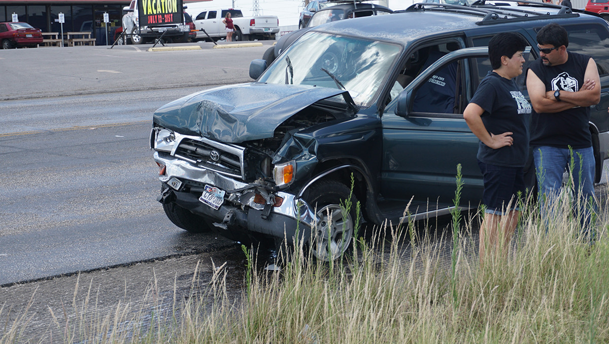 A Ford Focus is hit by a Toyota 4-Runner. The Focus pulled out in front of the 4-Runner, police saild on July 29, 2015. (LIVE! Photo/John Basquez)