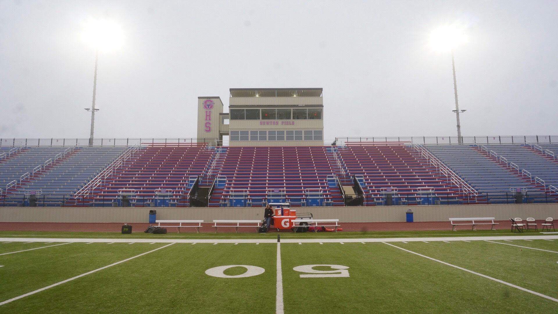 A foggy Newton Field prior to the start of the Wall vs. Pilot Point regional payoff game in Graham, Texas on Nov. 29, 2019. (LIVE! Photo/Joe Z. Hyde)