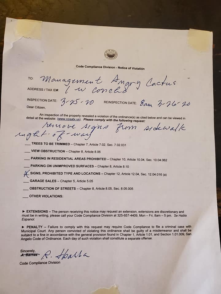 Code of Compliance Letter (Tim Condon)