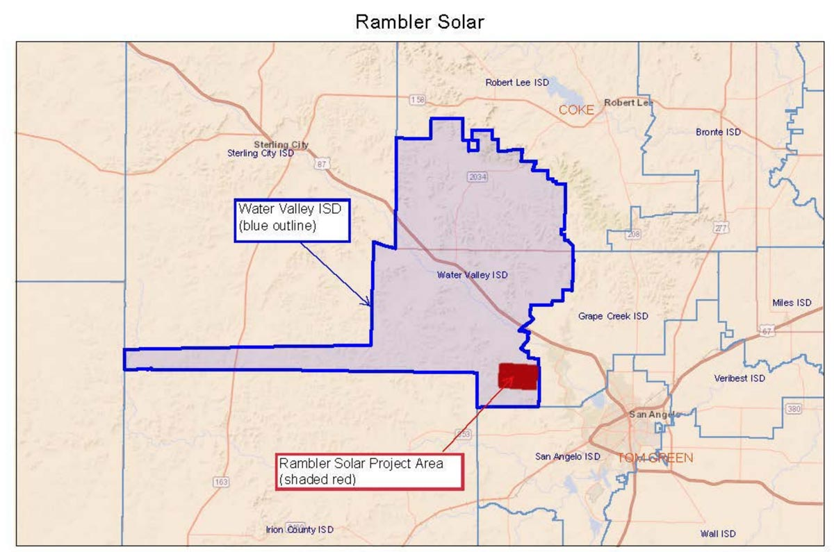 The location of the Rambler solar farm.