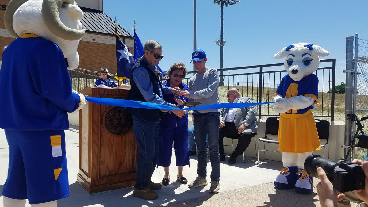 "Richard Mayer and his wife, Betty ""B.J."" Mayer, cut the ribbon for the grand opening Saturday. (Contributed Photo/Angelo State University)"