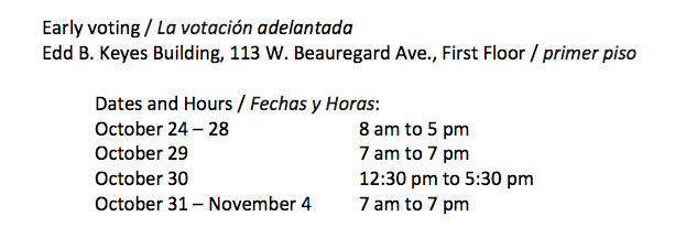 Early Voting Dates and Times (Photo Courtesy of Tom Green County)